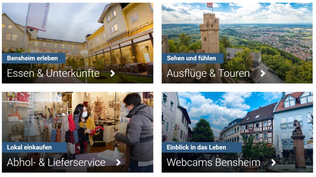 Blick auf die Startseite von bensheimerleben.de. Übersichtlich dargestellt ist hier der Absprung auf die Unterkategorien möglich.